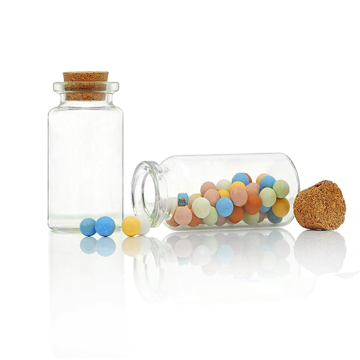 T023 5 Pcs Glass Tube Jewelry Bead Storage Vials Potion Cylinder Bottles With Corks 45mm X 22mm 38 5mm Depth Per Vial Favored Memories Jewelry Making Supply Store