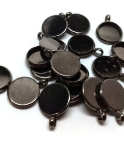 Perpendicular Loop 10mm Glue Pad Hole Size: 2.3mm Gunmetal Circle Round Bezel Cabochon Pendant Tags Trays 10 pcs