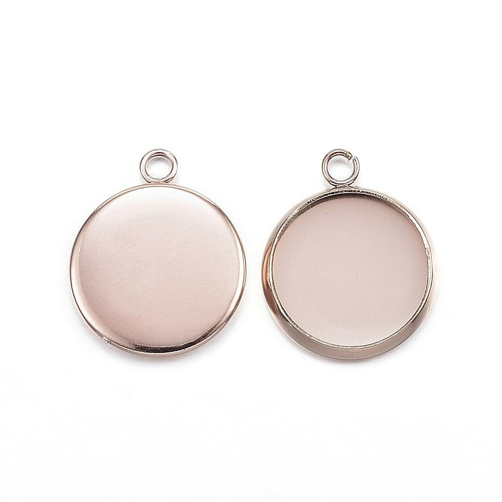 10 pcs Hypoallergenic! 304 Stainless Steel Rose Gold Plated Circle Round Bezel Cabochon Pendant Tags Trays 10mm Glue Pad Single Loop