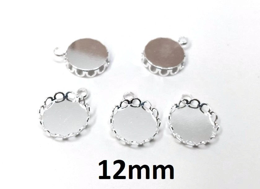 12mm Glue Pad Settings Antique Silver Circle Round Bezel Cabochon Pendant Tags Trays 10 pcs Ball Frame Design
